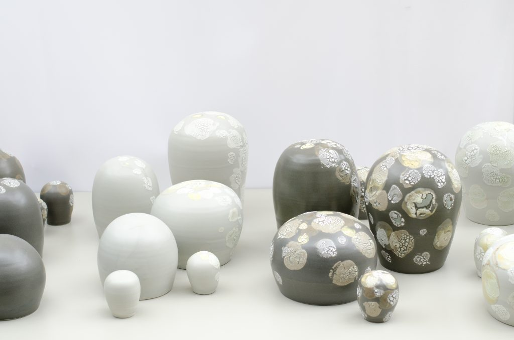 Lichen-glazed porcelain sculptural forms