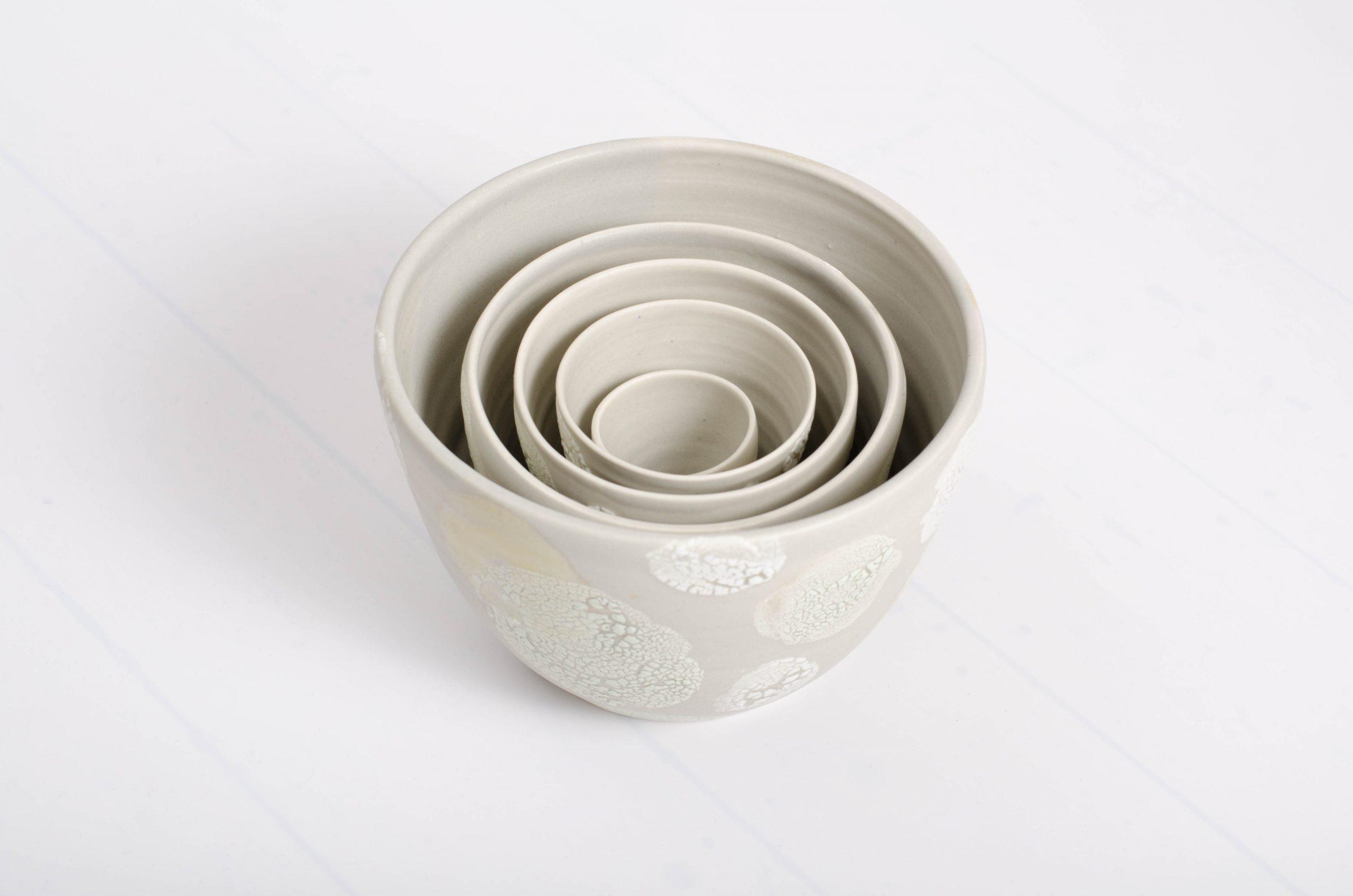 grey lichen nesting bowls